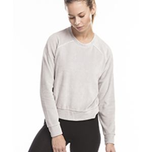 Ladies' Velour Long Sleeve Crop T-Shirt Thumbnail